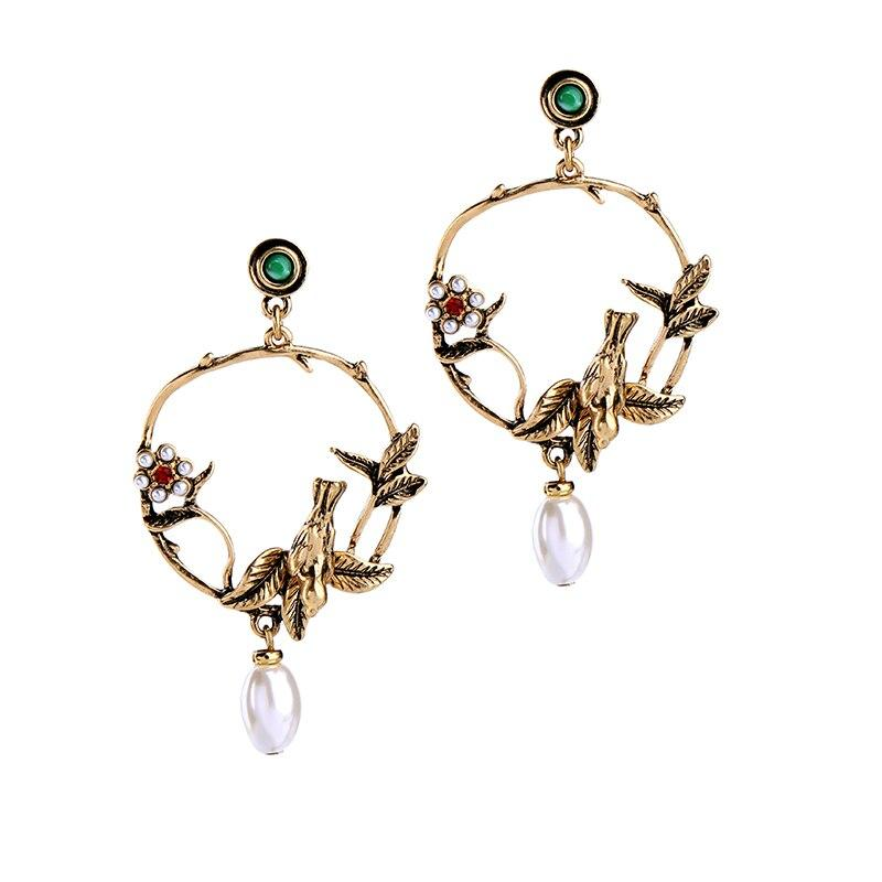 Bird and Flower Hoop Stud Earring Luxoba