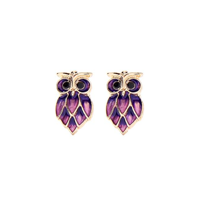 Owl Design Stud Earring Luxoba Purple