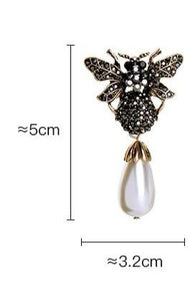 Crystallized Bee with Pearl Drop Earring