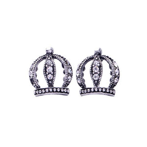 Crown Earring Luxoba Antique Silver