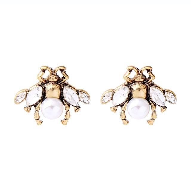 kissme Delicate Crystal Imitation Pearl Insect Drop Earrings Classic Brand Design Cute Bee Earrings For Women Fashion Jewelry Luxoba ed01480b-2