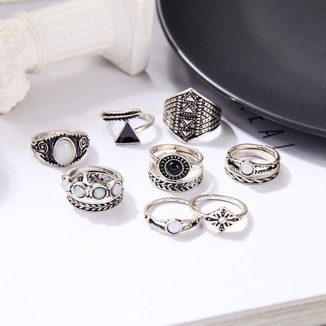 Vintage Stackable Rings Luxoba Set C Antique Silver Plated