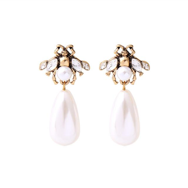 Pearl Tear Drop Bee Earring - Luxoba