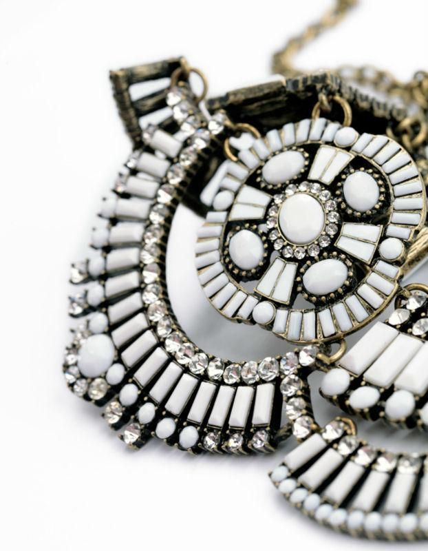 White Beaded Antique Statement Necklace Luxoba