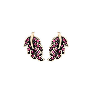 Leaf Stud Earring Luxoba Red Stone