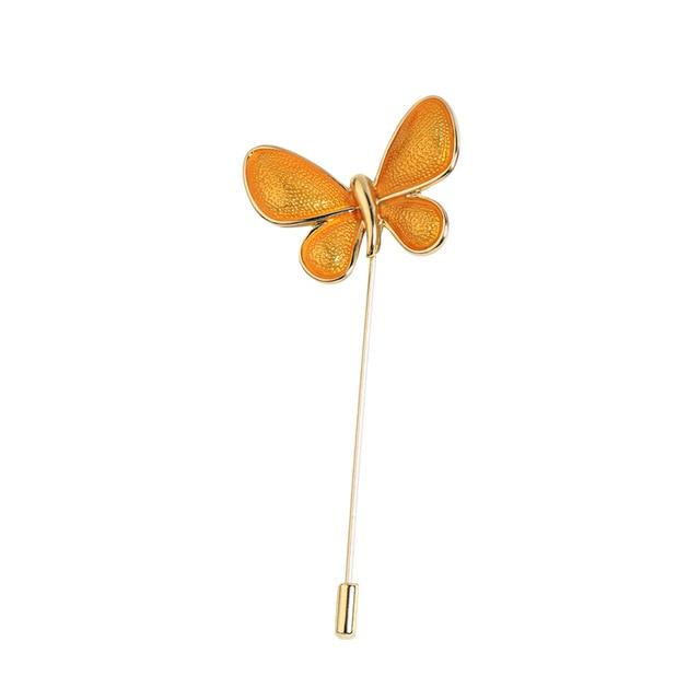 Butterfly Pin Brooch Luxoba Mustard Yellow