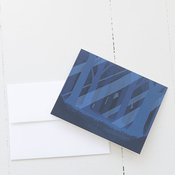 Blue Woods Landscape Note Card (single card) with envelope