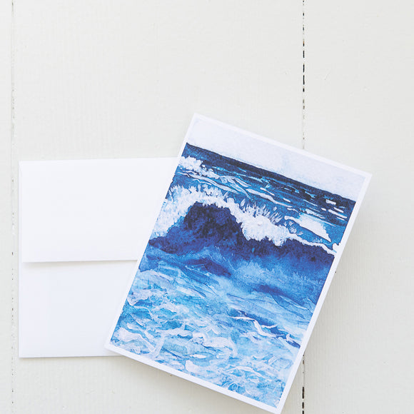 Breaking Wave Watercolor Note Card (Single Card and Envelope)