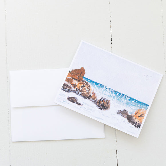 Crashing Waves Watercolor Note Card (Single Card and Envelope)
