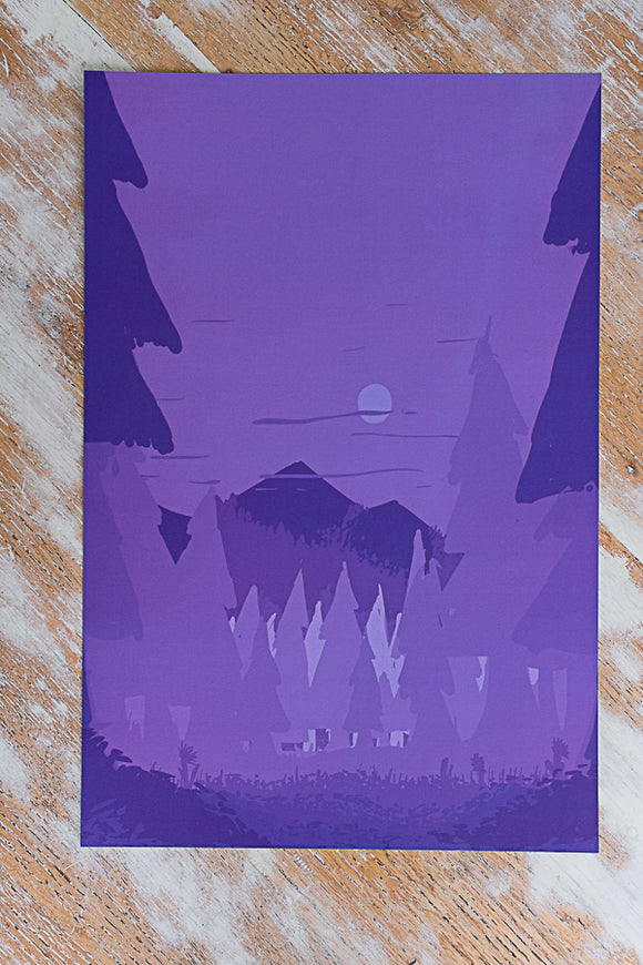 Purple Mountain Abstract Landscape Poster 12 x 18