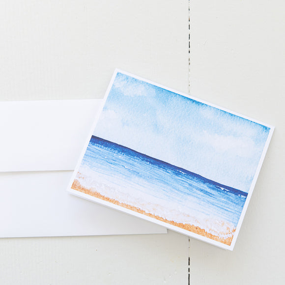 A Day at the Beach Watercolor Note Card (Single Card with Envelope)