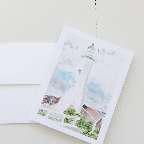 Scituate Lighthouse Watercolor Note Card (single card)