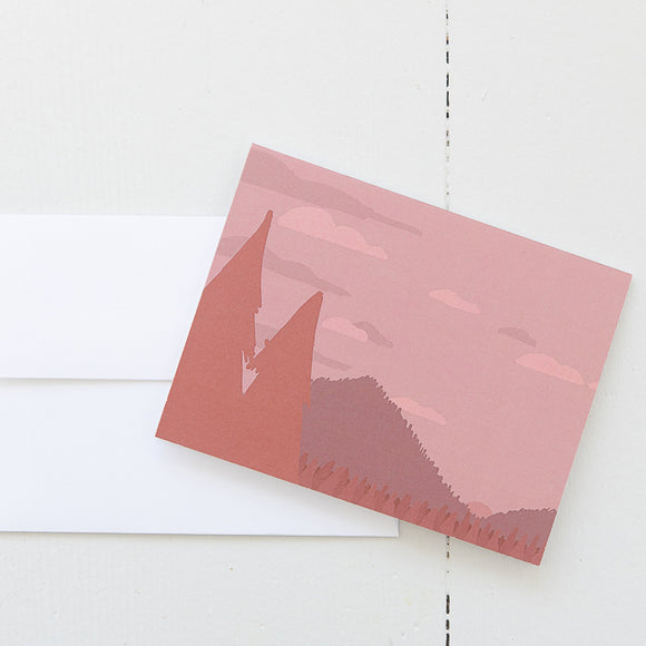 Orange Mountain Landscape Note Card (single card) with envelope
