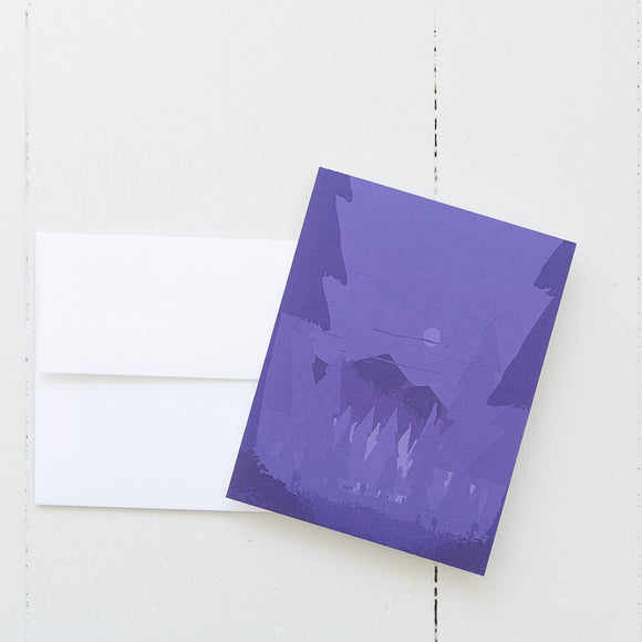 Purple Mountains Landscape Note Card (single card) with envelope
