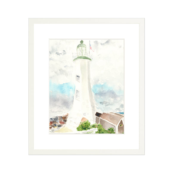 Scituate Lighthouse Watercolor