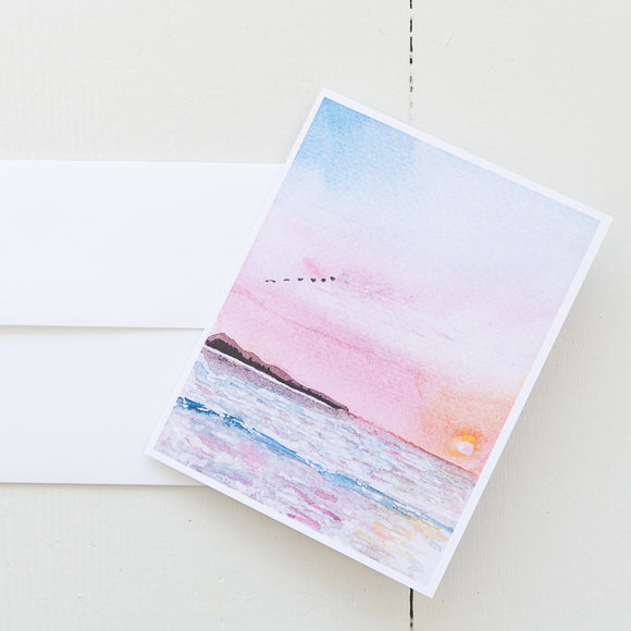 Sunset Scene Watercolor Note Card (Single Note Card with Envelope)
