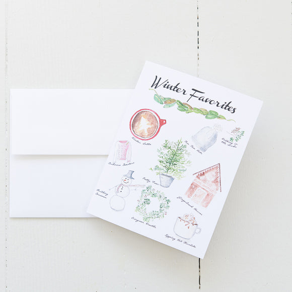 Winter Favorites Note Card (single card with envelope)
