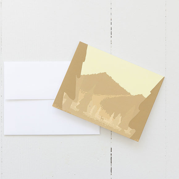 Gold Mountain Landscape Note Card (single card) with envelope
