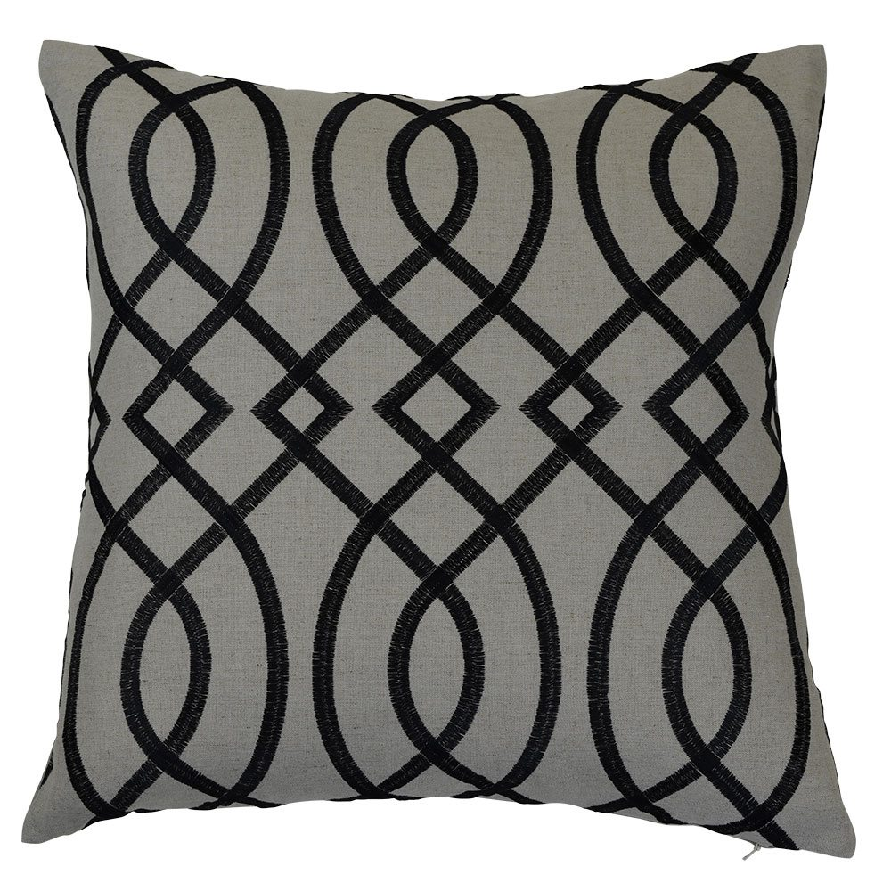 Linen charcoal cushion cover