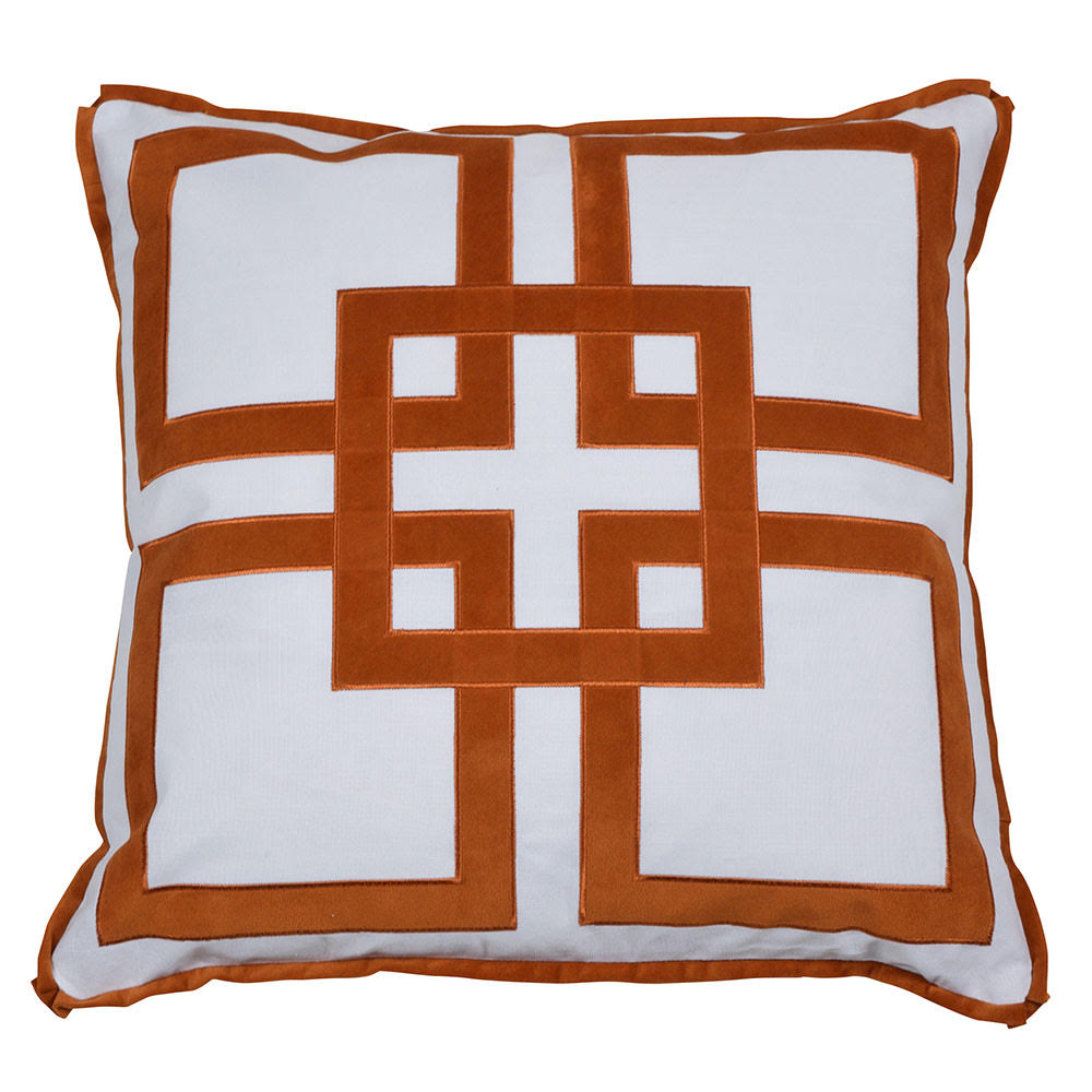 rust velvet pattern cushion cover
