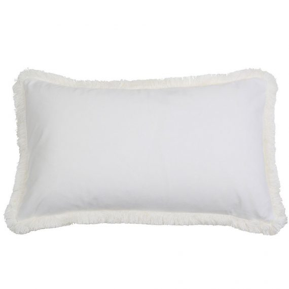white fringe rectangle cushion