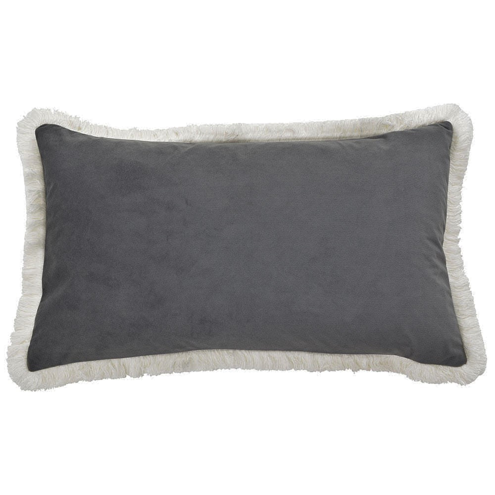 grey velvet fringe rectangle cushion cover