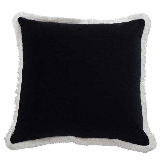 black white fringe cushion cover