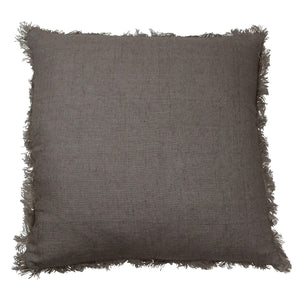fringed taupe cushion