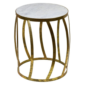 Vintage Gold Marble Side Table