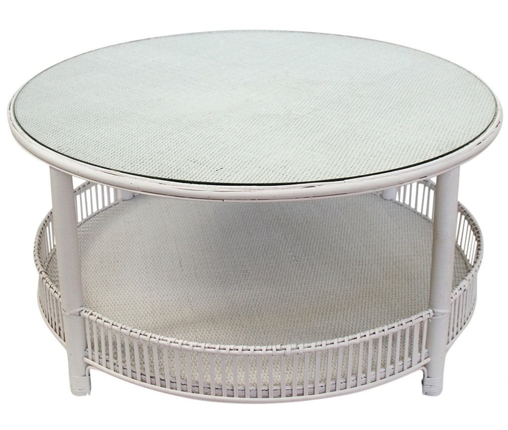 Rattan Coffee Table - White