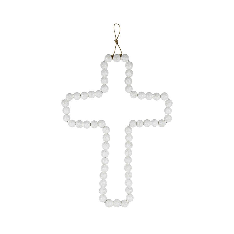 WHITE WOOD-BEADED CROSS W/HANGER 31X42CM