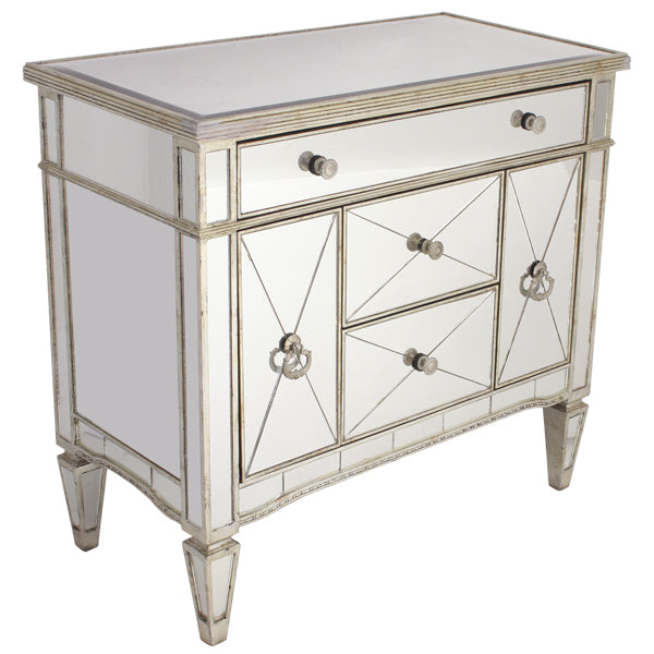 Mirrored Dresser Nightstand Antique Ribbed 5 drawers