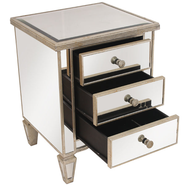 Mirrored Bedside Ribbed