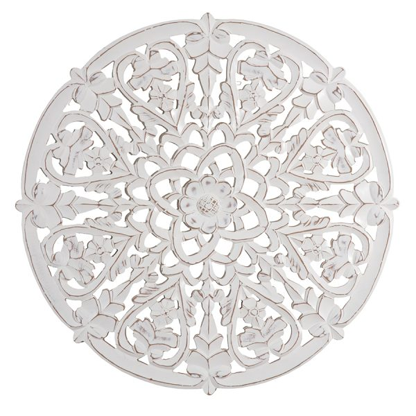 Round Ornate Hand carved Flowers