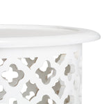 Wood Quatrefoil Side Table - White
