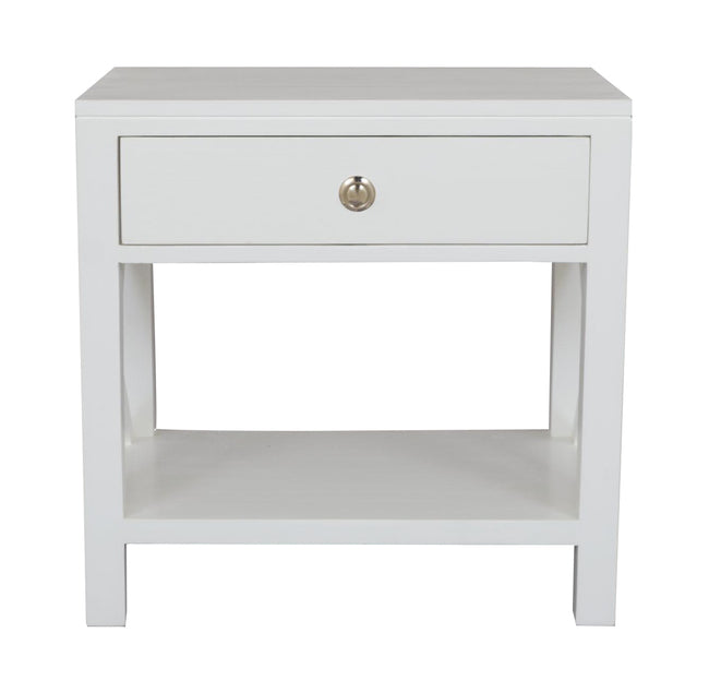 Catalina Crossed White Bedside/Side Table