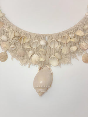 close up of shell wall hanging