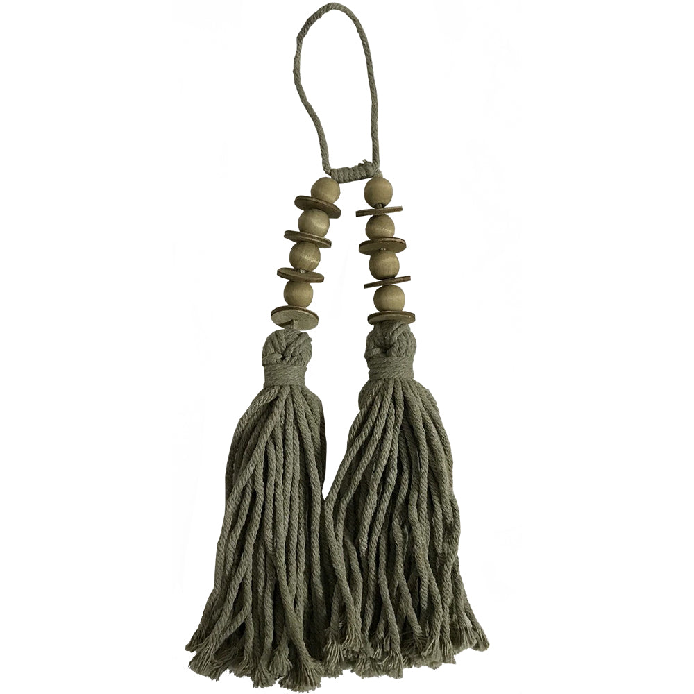 TWIN TASSEL W/BEADS-TAUPE GREEN 38CM