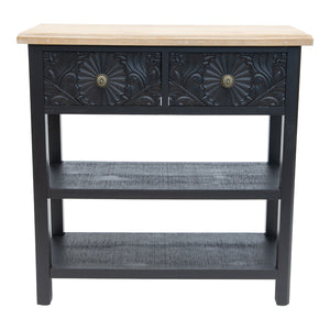 Palais Ornate Moulded 2-Drawer Shelved Console Table