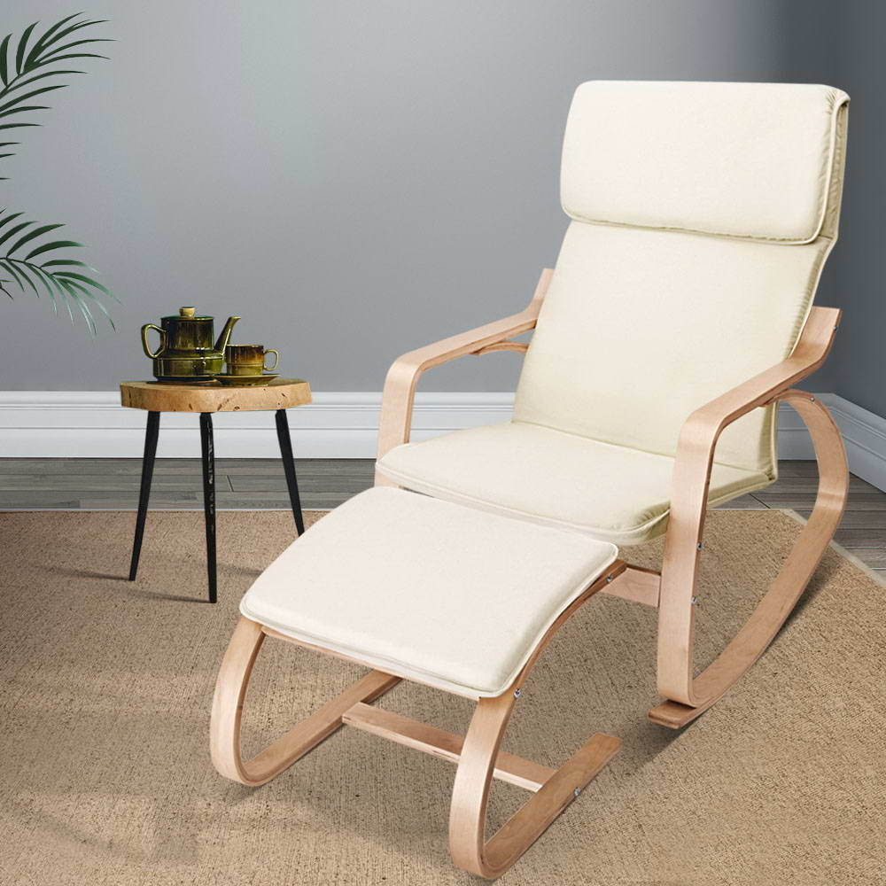 Wooden Armchair with Foot Stool - Beige