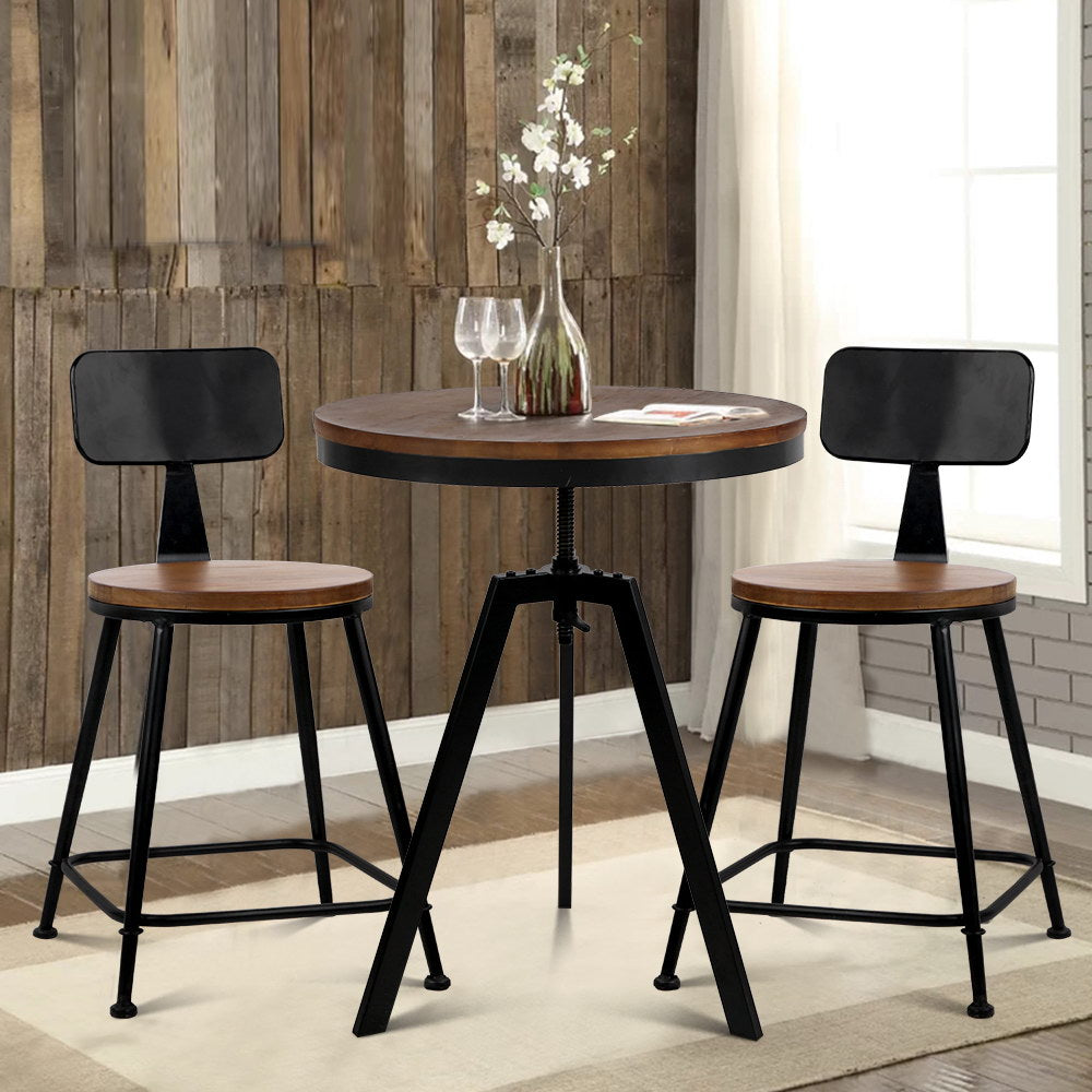 Bar Table and Stools set  Wood Metal