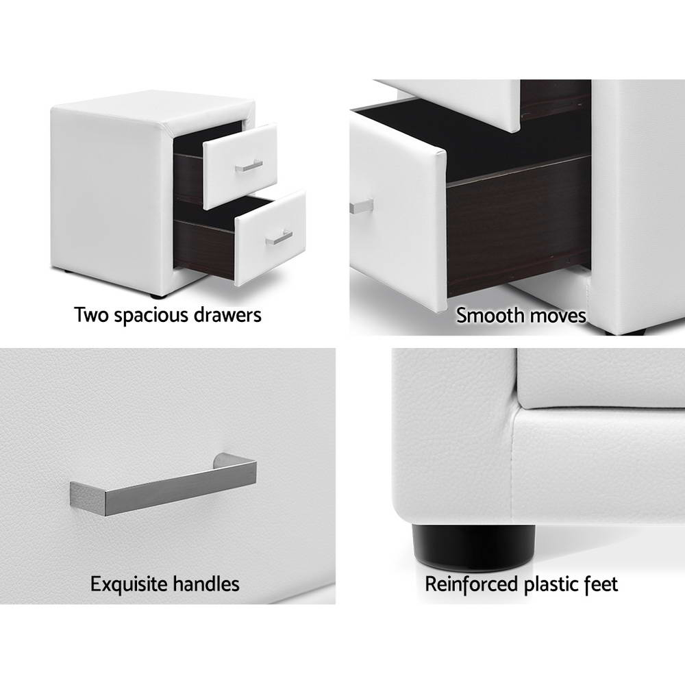 PVC Leather Bedside Table - White