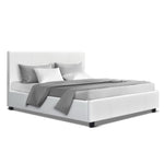 Artiss Queen Size Bed Frame Base Mattress Platform White Leather Wooden NEO