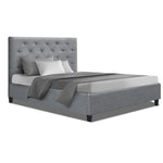 Artiss King Single Size Bed Frame Base Mattress Platform Fabric Wooden Grey VAN