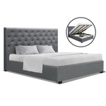 Artiss King Size Gas Lift Bed Frame Base With Storage Mattress Grey Fabric VILA