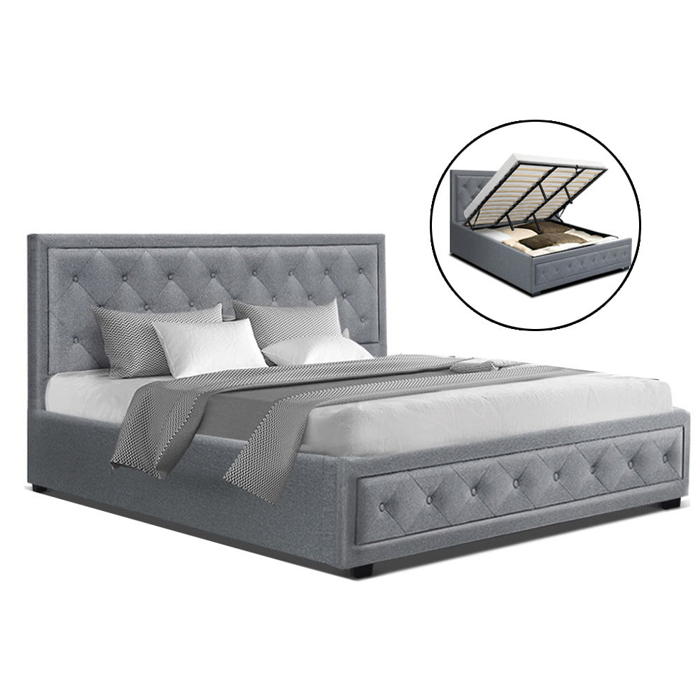 Artiss TIYO King Size Gas Lift Bed Frame Base With Storage Mattress Grey Fabric