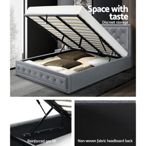 King - Padded Grey Bed