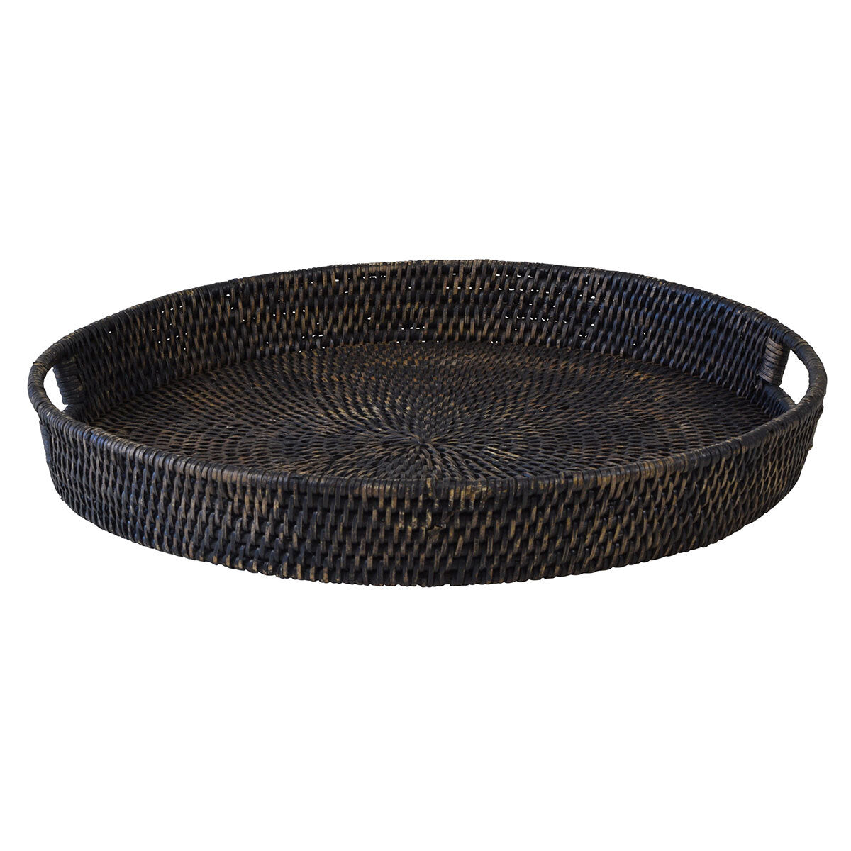 Round Dark Rattan Tray Small / Large
