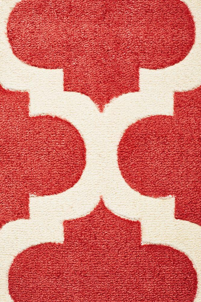 City Trellis Stylish Design Rug Red