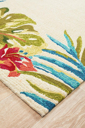 Copacabana Anna Floral Indoor Outdoor Rug Cream